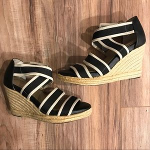 GNW Kindra Strappy Navy And Cream Espadrille Wedge